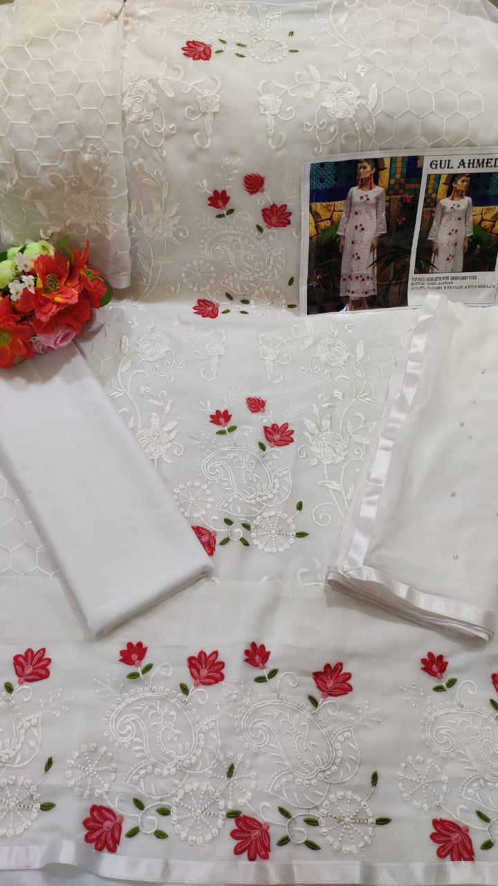 GULAHMED 03 PAKISTANI GEORGETTE WHITE SUIT