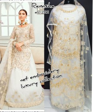 RAMSHA R 222 PAKISTANI SUITS SUPPLIER SINGLE PIECE