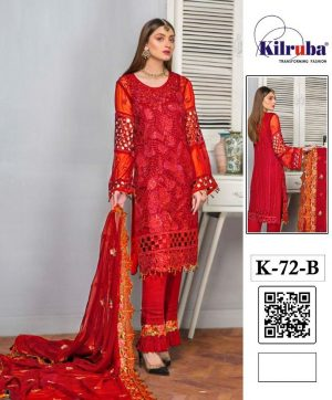 KILRUBA K 72 B RED PAKISTANI SUIT SUPPLIER