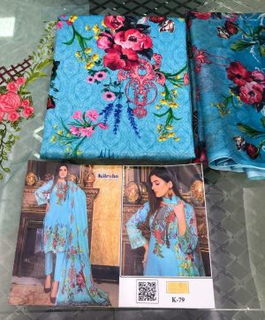 KILRUBA K 79 COTTON SUITS WITH SILK DUPATTA