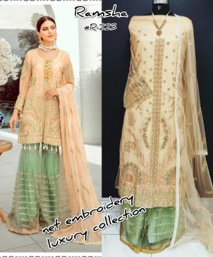 RAMSHA R 223 PAKISTANI SUITS SUPPLIER SINGLE PIECE