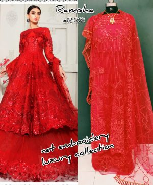 RAMSHA R 221 PAKISTANI SUITS SUPPLIER SINGLE PIECE