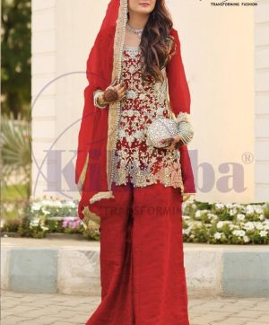 KILRUBA K 65 A RED PAKISTANI SUITS IN SINGLE PIECE