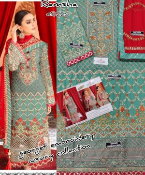 RAMSHA R 226 PAKISTANI SUITS WHOLESALER IN SINGLE