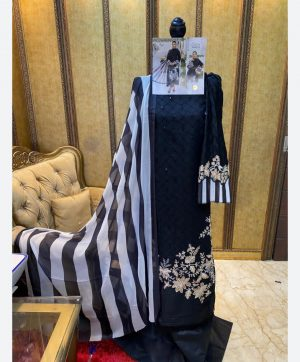 SHREE FABS MARIA B SATEEN 1458 BLACK PIECE WHOLESALE
