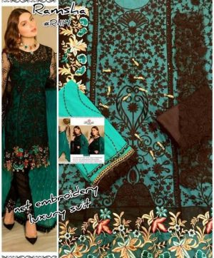 RAMSHA R 114 COLORS PAKISTANI SUITS WITH FREE SHIPPING