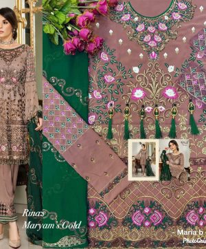 RINAZ MARYAM GOLD PAKISTANI SUIT FREE SHIPPING