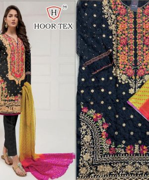 HOOR TEX 17013 BLACK PAKISTANI SUITS FREE SHIPPING