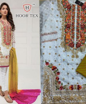 HOOR TEX 17013 WHITE PAKISTANI SUITS FREE SHIPPING