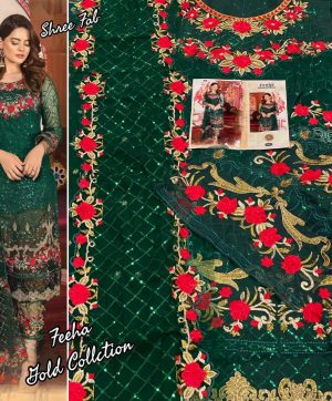SHREE FABS FEEHA RED GREEN PAKISTANI SUITS