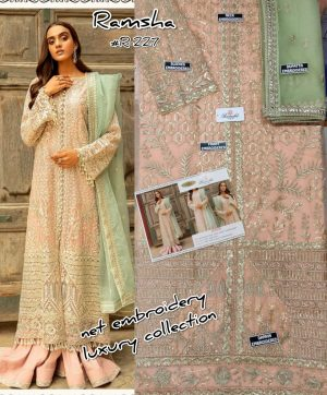 RAMSHA R 227 PAKISTANI SUITS WHOLESALER IN SINGLE