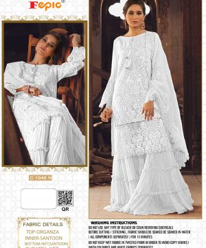 FEPIC C 1046 N WHITE PAKISTANI SUITS ONLINE