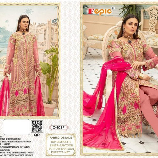 FEPIC C 1037 PAKISTANI SUITS WITH FREE SHIPPING