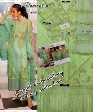 RAMSHA 205 PAKISTANI SUITS WITH FREE SHIPPING