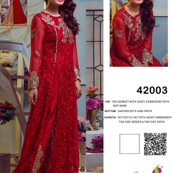 SANIYA TRENDZ 42003 RED PAKISTANI SUIT
