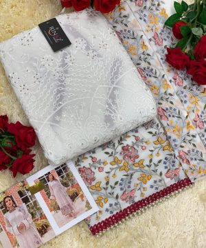 RINAZ 4504 WHITE PAKISTANI SUITS IN SINGLES