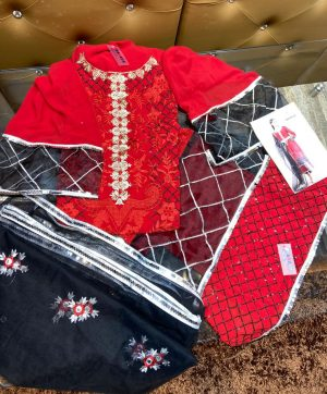 SHANAYA S 42 RED PAKISTANI SUITS WHOLESALER