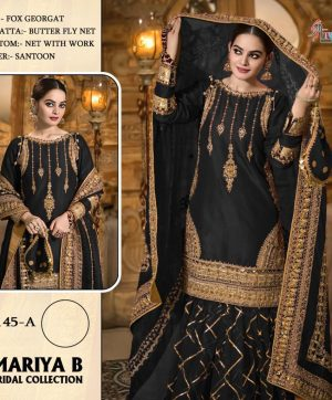 SHREE FABS S 145 A BLACK PAKISTANI SUITS WHOLESALE
