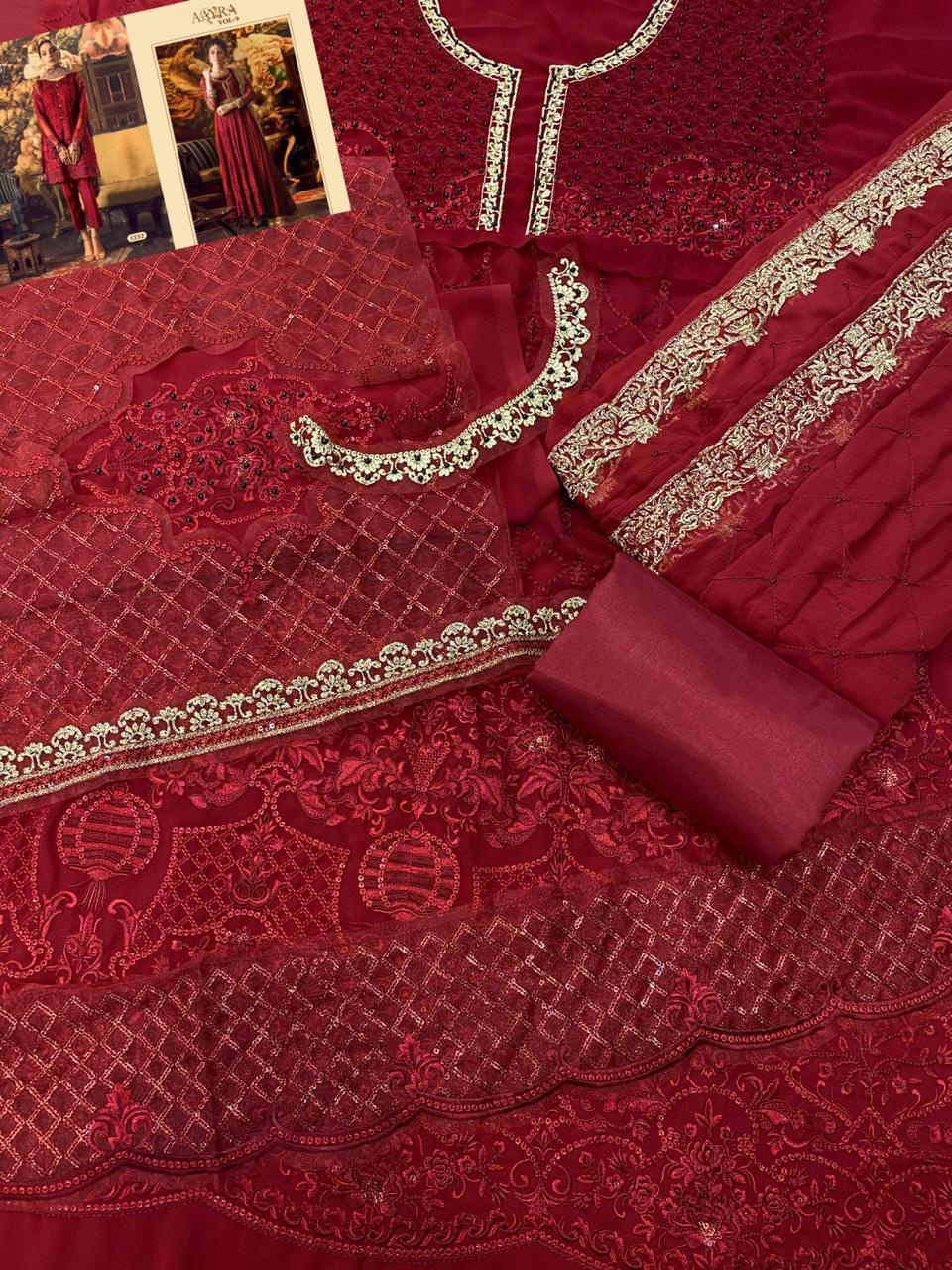 COSMOS VOL 9 1252 RED PAKISTANI SUITS WHOLESALE