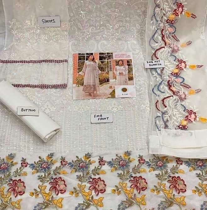 SHREE FABS S 147 WHITE PAKISTANI SUITS SINGLES