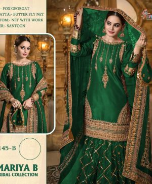 SHREE FABS S 145 B GREEN PAKISTANI SUITS WHOLESALE