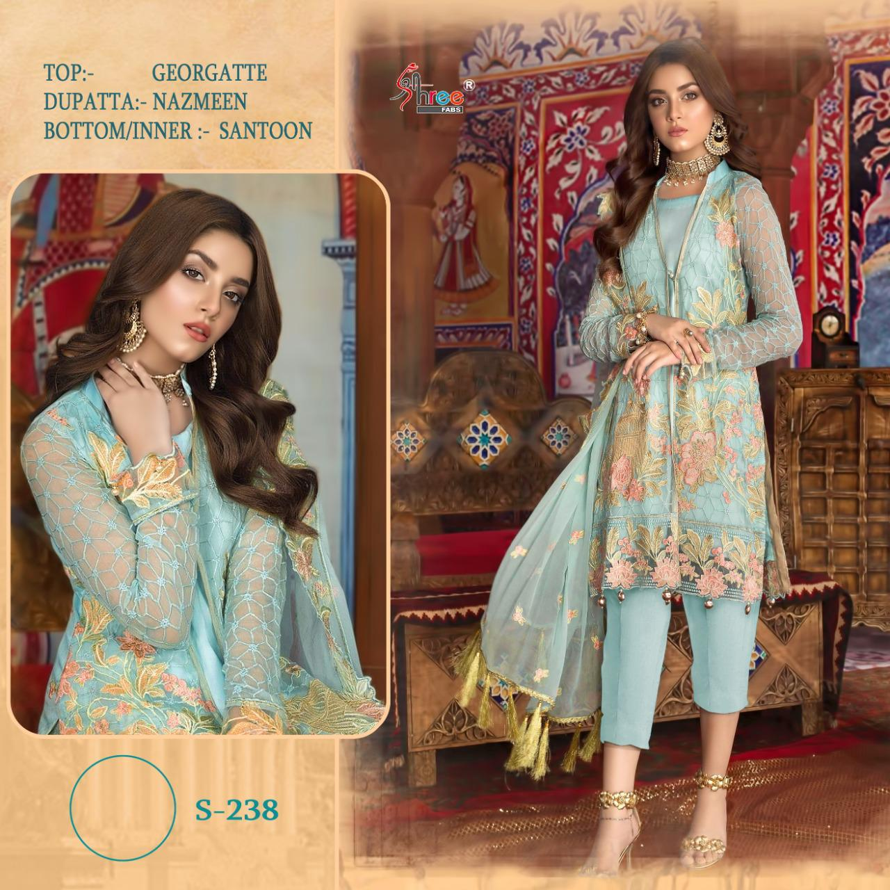 SHREE FABS S 238 GEORGETTE SUITS WHOLESALE