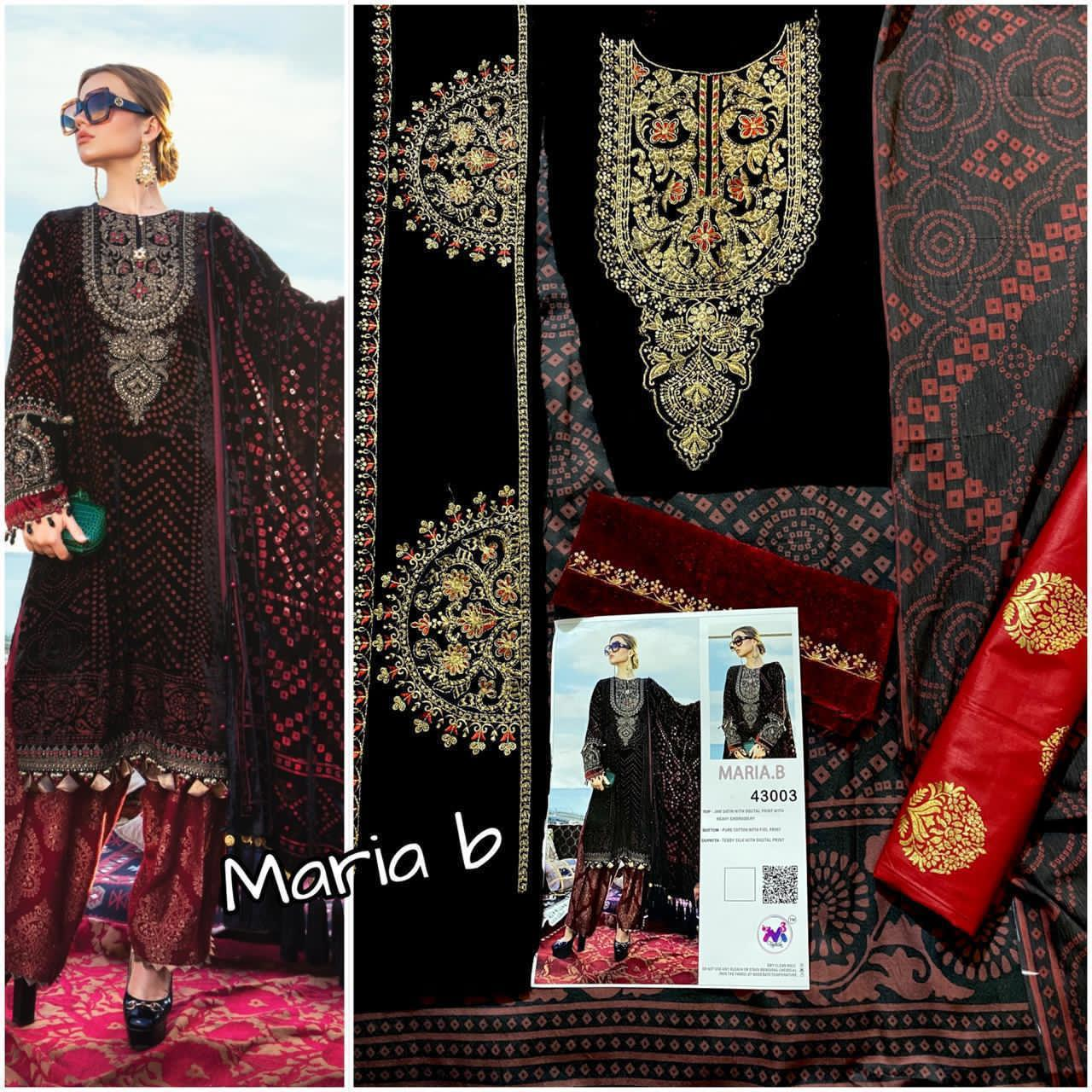 M 3 FASHION MARIA B BLACK SUITS WHOLESALER