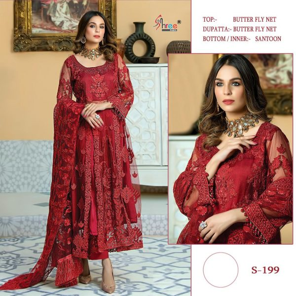 SHREE FABS S 199 RED PAKISTANI SUITS WHOLESALE1