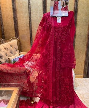 SHREE FABS S 199 RED PAKISTANI SUITS WHOLESALE