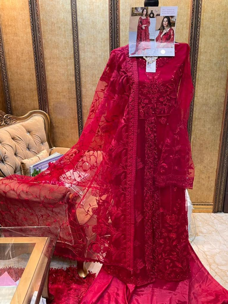 SHREE FABS S 199 RED PAKISTANI SUITS WHOLESALE2