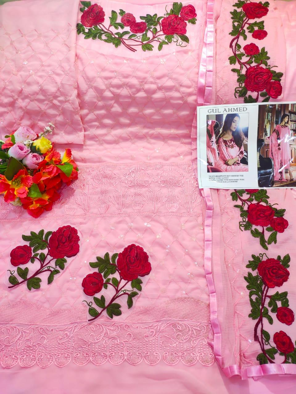 GUL AHMED PINK GEORGETTE PAKISTANI SUITS