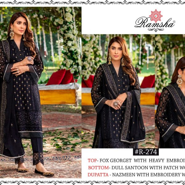RAMSHA R 274 BLACK DESIGNER SUITS ONLINE