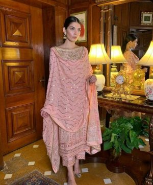HOOR TEX 18016 PINK PAKISTANI SUITS WHOLESALE