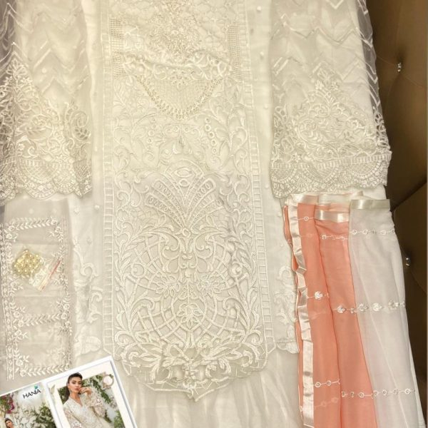 HANIA H 03 WHITE CUT WORK PAKISTANI SUITS