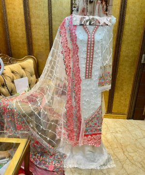 SF 104 WHITE PAKISTANI SUITS WHOLESALER SURAT