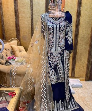 COSMOS 7007 BLUE PAKISTANI SUITS IN SINGLES