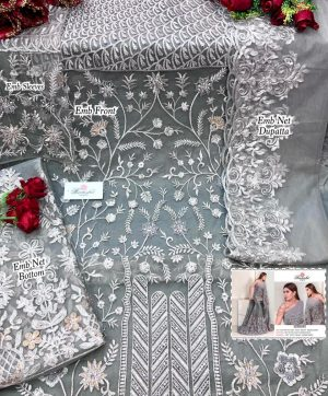RAMSHA R 279 B GREY PAKISTANI SUITS WHOLESALER