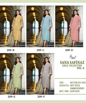 SHREE FABS 209 COLORS SANA SAFINAZ GOLD VOL 4