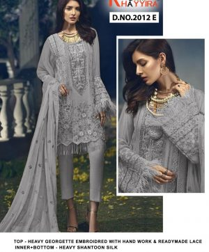 KHAYYIRA 2012 E GREY CROSS STITCH SALWAR KAMEEZ