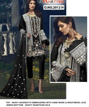 KHAYYIRA 2012 H BLACK CROSS STITCH SALWAR KAMEEZ
