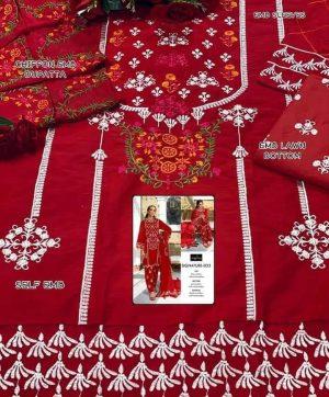 RIWAYAT SIGNATURE 033 RED COTTON SALWAR KAMEEZ