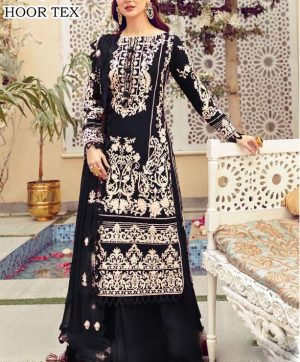 HOOR TEX 21022 A BLACK COTTON SALWAR KAMEEZ
