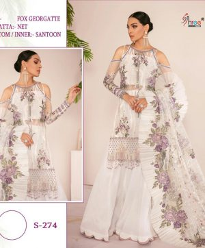 SHREE FABS S 274 WHITE GEORGETTE SALWAR KAMEEZ