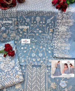 RAMSHA R 279 C SKY BLUE PAKISTANI SUITS WHOLESALER