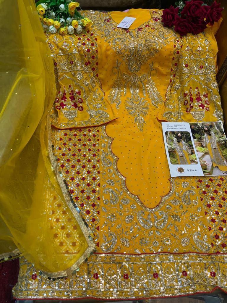SHREE FABS 246 B YELLOW SALWAR KAMEEZ ONLINE