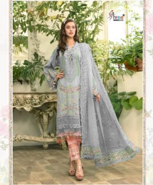 SHREE FABS 1637 GREY SALWAR KAMEEZ IN COTTON