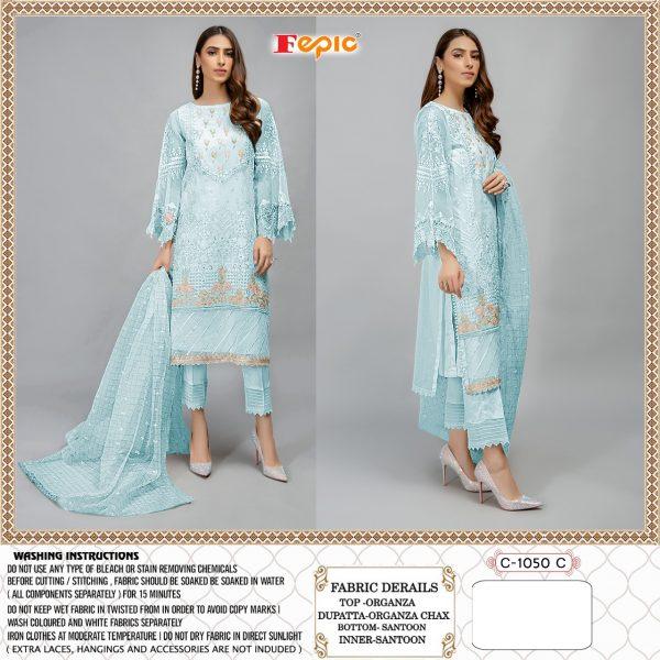 FEPIC C 1050 C BLUE WHOLESALE PAKISTANI SUITS SUPPLIER