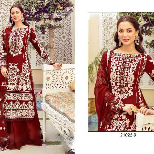HOOR TEX 21022 D RED COTTON SALWAR KAMEEZ