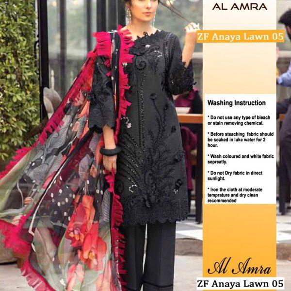 AL AMRA ZF ANAYA LAWN 05 BLACK SALWAR KAMEEZ