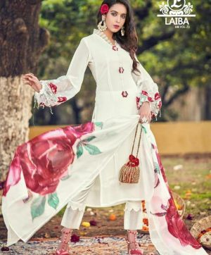 LAIBA AM 73 WHITE READYMADE COLLECTION